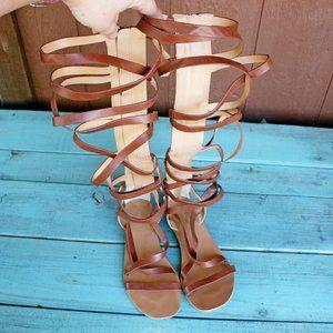Express Brown Zip Up Gladiator Sandal Shoe Size 8